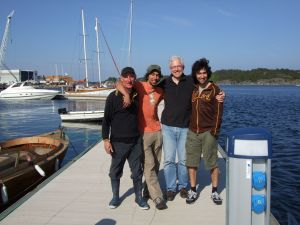 Alasdair, Cathel and Coll Hutchieson with JB, S Norway, May08