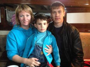 Oksana and her two sons visiting