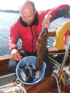 Robin with a nice catch of fish, lofoten islands